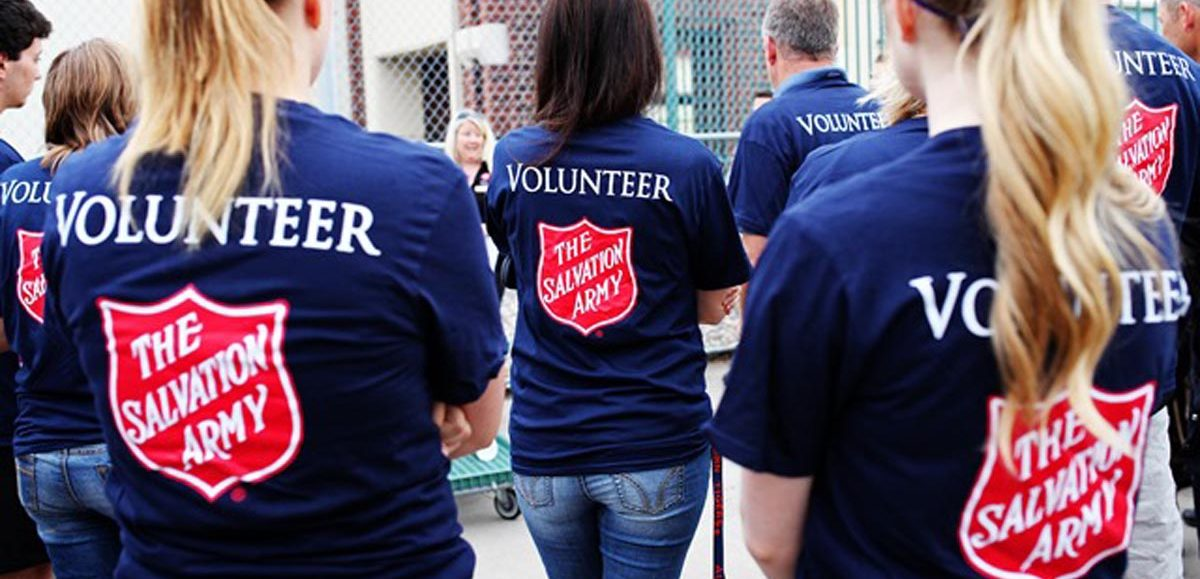 Salvation Army Volunteers wearing volunteer shirts